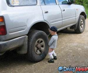 Kid Peeing on a car