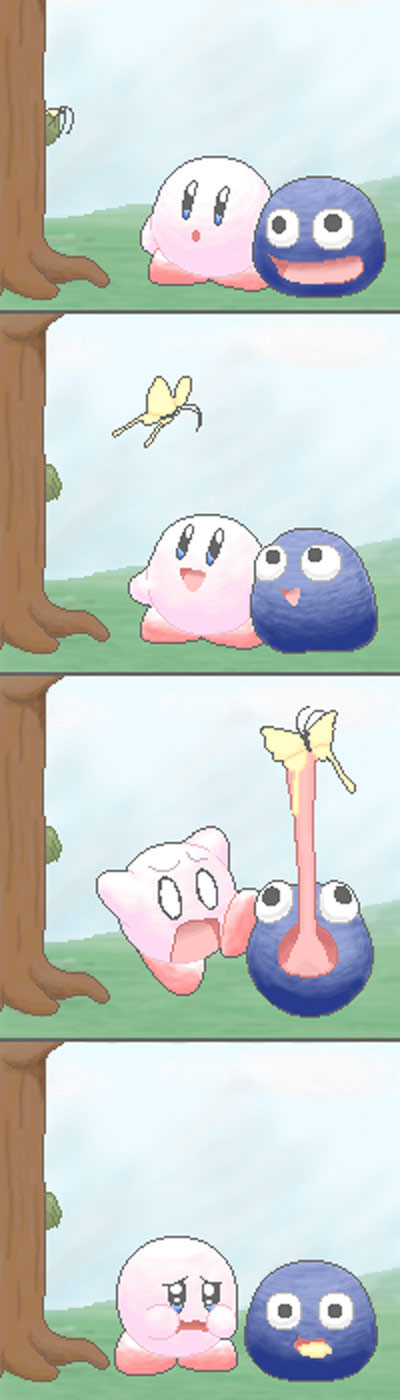 Kirby makes a sad