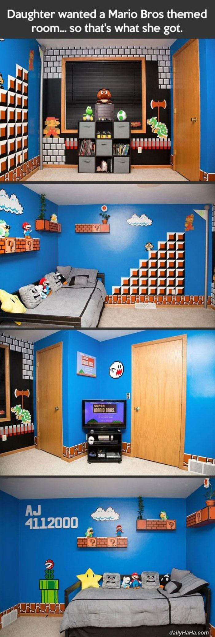 mario themed room funny picture