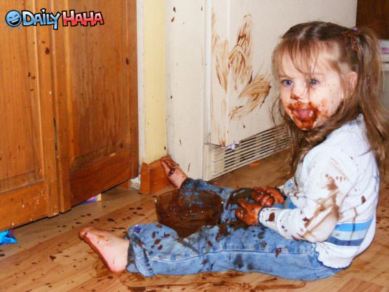 Little Girl with Messy Chocolate
