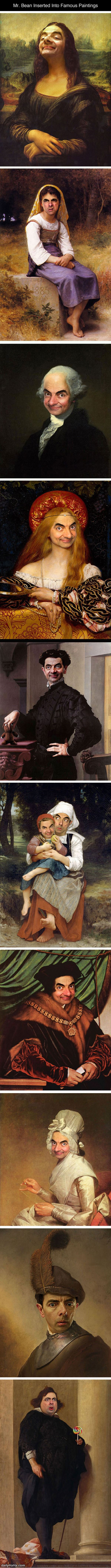 my bean in famous paintings funny picture