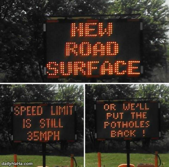 new road surface funny picture