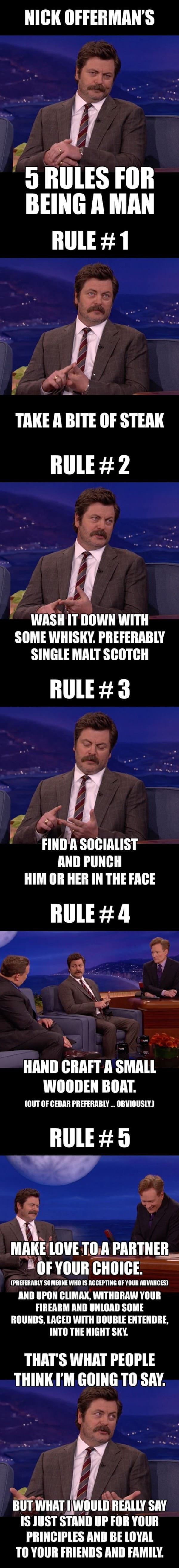 nick offerman rules being man funny picture