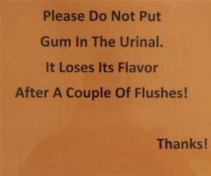 no gum in the urinal funny picture