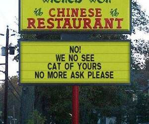 Chinese Food Cats Sign