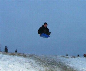 one hell of a sledding jump