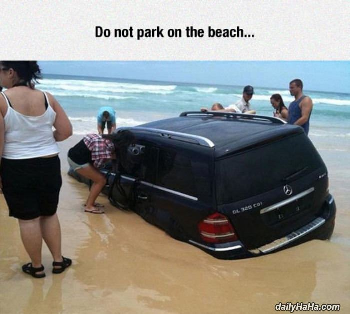 parking on the beach funny picture
