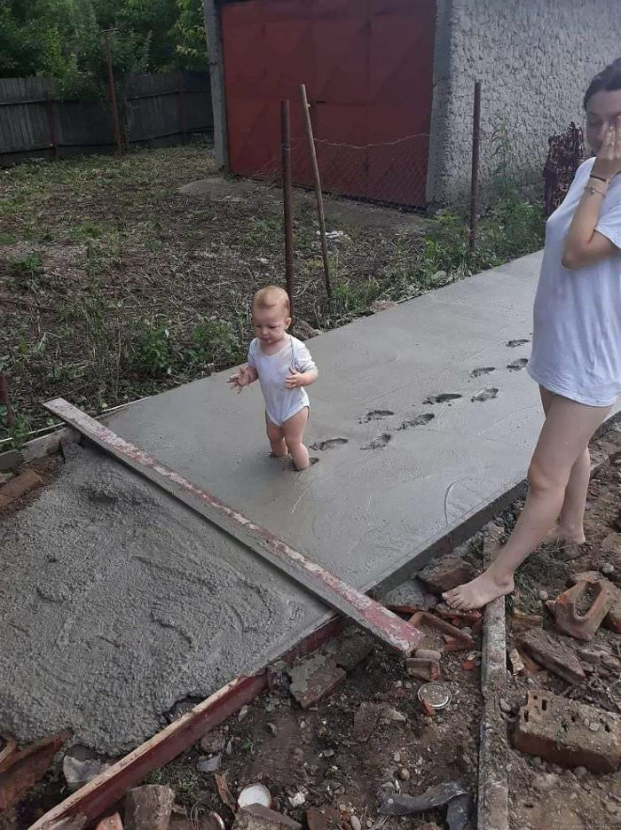playing in the cement