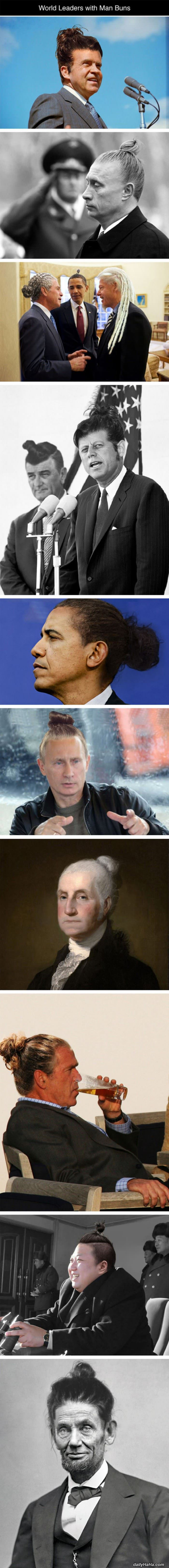 powerful men with hair buns funny picture
