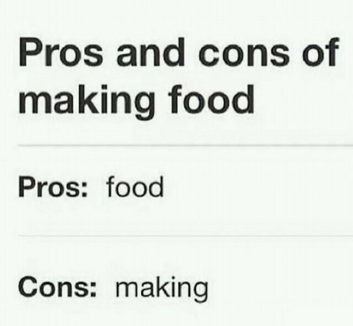 Pros and cons of making food funny clone