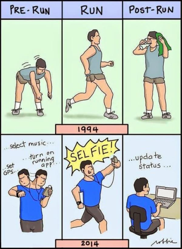 running then and now funny picture