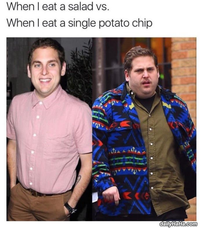 salad vs potato chips funny picture