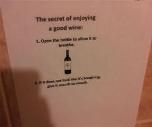 secret to enjoying wine funny picture