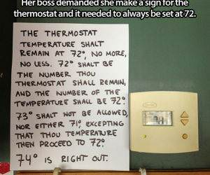 Set the Thermostat to 72 funny picture