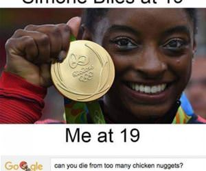 simone biles at 19 vs me funny picture