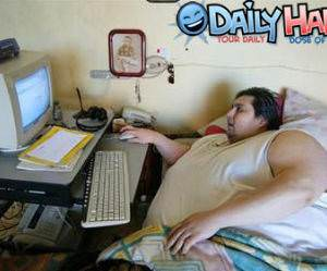 Fat Naked Guy On Computer 49