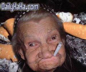 Old Lady Smoking