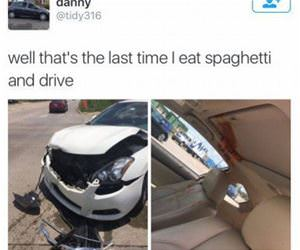 spaghetti while driving funny picture