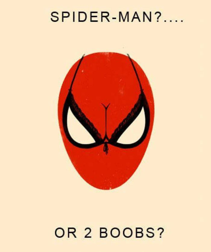 spiderman or 2 boobs funny picture