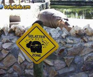 splatter zone sign
