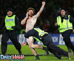 Streaker being tackled