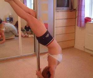 Girl pole dancing