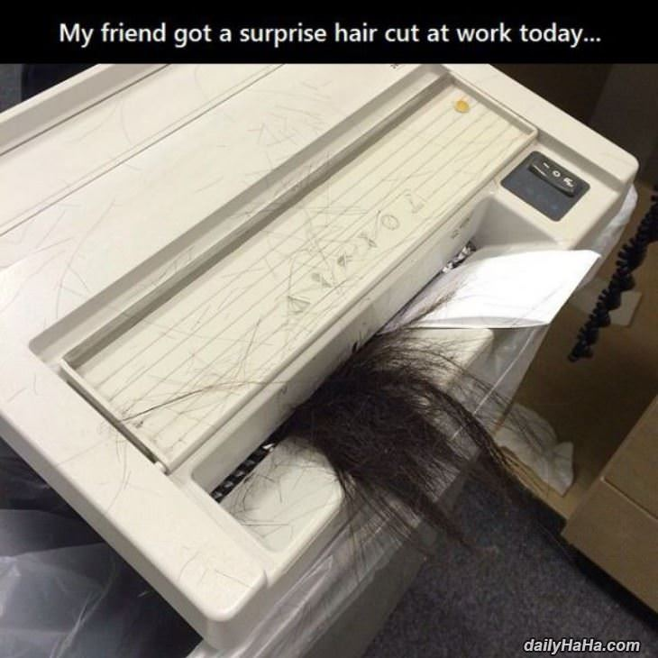 surprise hair cut funny picture