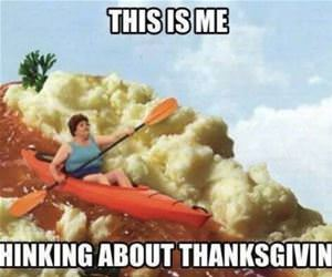 thinking about thanksgiving funny picture