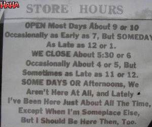 Wacky Store Hours funny picture