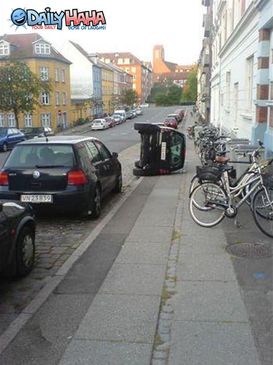 Tipped Over Parking Funny Picture