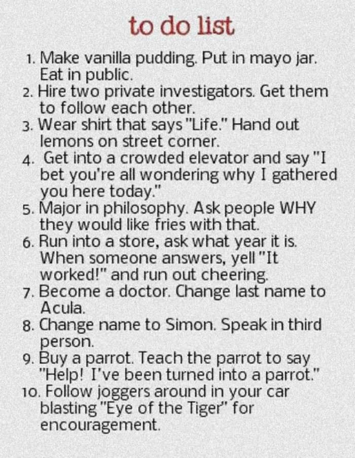 to do list a very funny little list of pranks to do before i die