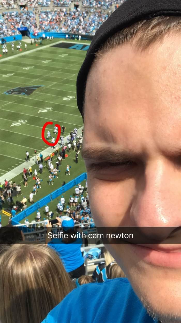 took a selfie with cam newton