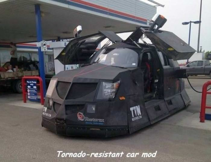 tornado resistant car mod funny picture
