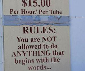 Tube Rental Rules funny picture