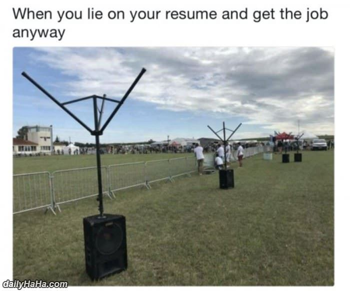 when you lie on your resume funny picture
