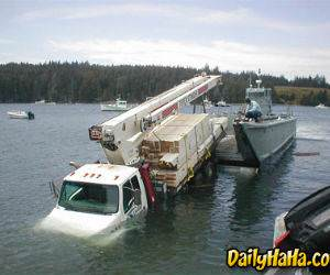 Truck Ends Up In Water