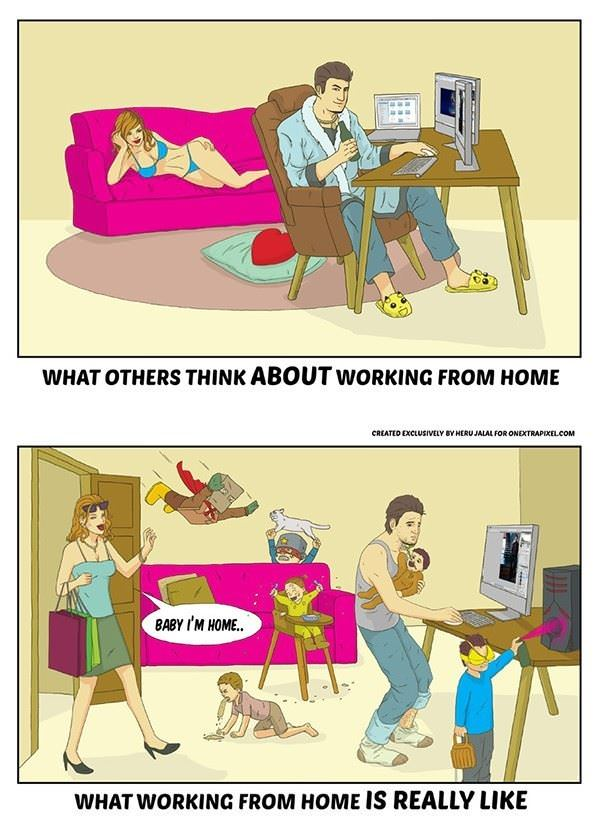 working from home funny picture