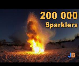 200k sparklers at once Funny Video