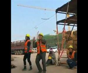 Amazing construction worker dance Funny Video