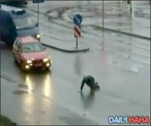 Drunk Crossing the Road