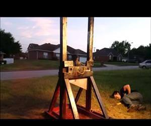 Guillotine vs a spray paint can side effects Funny Video