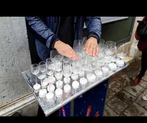 Harry Potters Theme Song Played on Glass Harp Funny Video