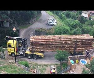 Logging truck crossing bridge like a boss Funny Video
