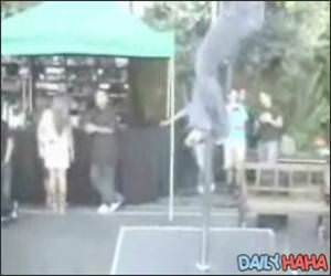 Pole Dancer does a faceplant