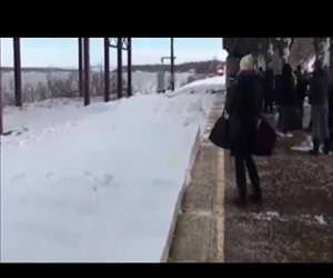 amtrak train on a snowy day Funny Video