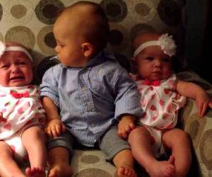 baby meets the twins Funny Video