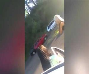 blonde girl causes a 3 car crash Funny Video