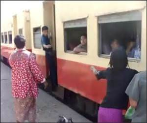 Boarding trains Myanmar Video