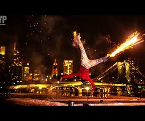 breakdancing with fireworks Funny Video
