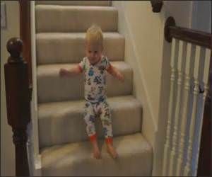 Cute Baby Vs Steps Funny Video